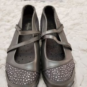 Grey Studded Detail Strappy Walking Shoes.